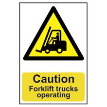 Caution Forklift Trucks Operating - 200x300mm - PVC SK0956