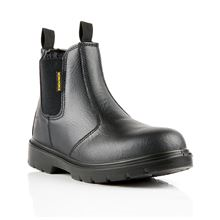 COMFORTABLE Black Leather Chelsea Safety Boot S1P SRC VF3255